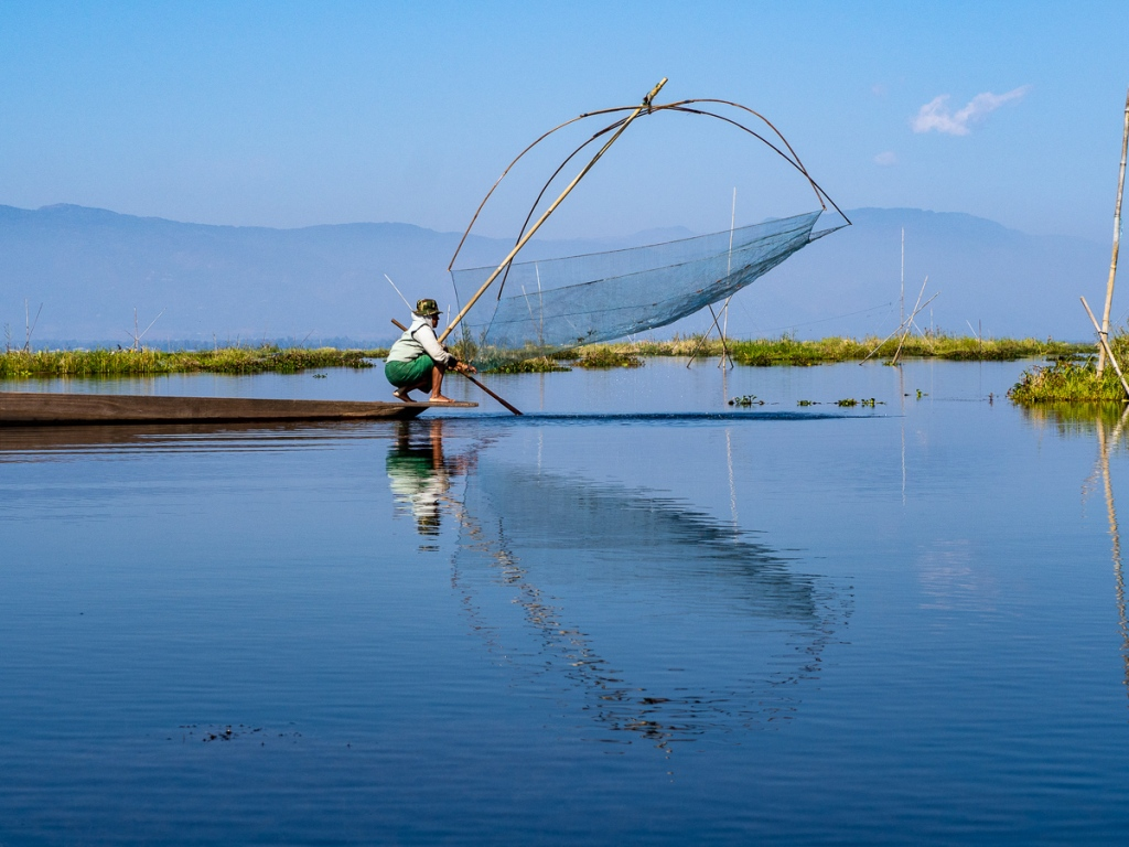 Female fisherman on Loktak Lake